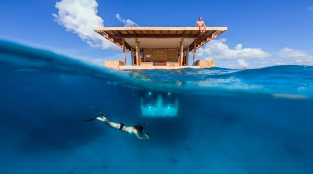 The underwater room of The Manta Resort on the Zanzibari island of Pemba.